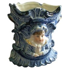 Art Nouveau Style Blue & White Porcelain Vase w/Embossed Bust of Young Boy