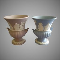 Pair of Wedgwood Jasper-Ware Posy Vases w/Neoclassical Decoration