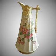 German/Austria Porcelain Hand Painted Ewer w/Floral & Embossed Motif
