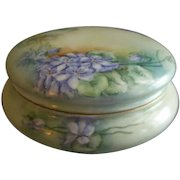 Delinieres Limoges Hand Painted Powder/Jewelry/Dresser Box w/Wild Spring Violets Motif