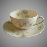 "Theodore Haviland, New York, ""Pink Spray"" Pattern - Set of 10 Cups & Saucers"