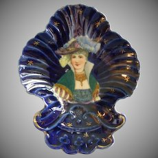 Cobalt Blue Porcelain Vanity Tray w/Transfer of Stylish Victorian Lady