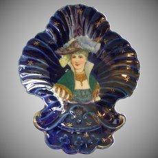 Cobalt Blue Porcelain Vanity Tray w/Transfer of Stylish Victorian Lady