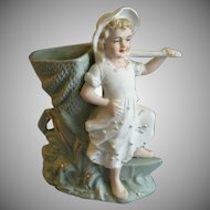 Germany/France Victorian-Style Bisque Figural Vase - Young Girl w/Mesh Seine