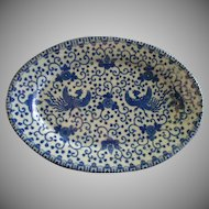 "Japan Blue & White Porcelain 'Phoenix' or ""Flying Turkey"" Oval Serving Platter"