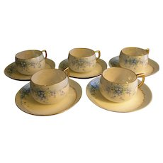 """Set of 5 Luken Studio H.P. China """"Forget-Me-Not"""" Pattern Cups & Saucers"""