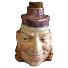 Sarreguemines Majolica Figural Face Liquor Bottle/Flask