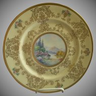 Pickard Studio Hand Painted 'Scenic' Charger w/Gold Decoration - Signed Challinor, Plate 5 of 12
