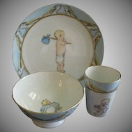 Hand Painted Porcelain 3 Pierce Baby Set w/Storks & Baby Images Motif