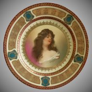 Royal Vienna Style Transfer & H.P. Cabinet Plate w/Image of Constance