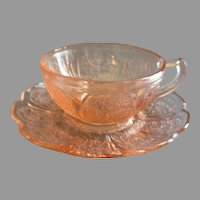 Jeannette Glass Company, Pair of Pink Cherry Blossom Pattern Children Cup & Saucers