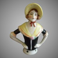 """Germany China Half-Doll """"Victorian"""" Era Figure For Attachment On Pincushion"""
