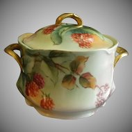 Jaeger & Co Porcelain Hand Painted Cracker/Biscuit Jar w/Red Raspberry Motif