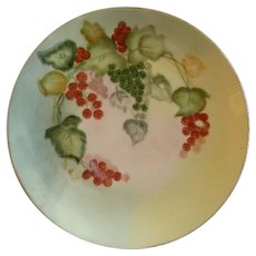 Favorite Bavaria Hand Painted Cabinet Plate w/Red, Black & White Currants Motif
