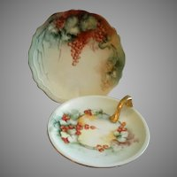 Home Studio Hand Painted Cabinet Plate & Handled Nappy w/Ripe Currant Motifs