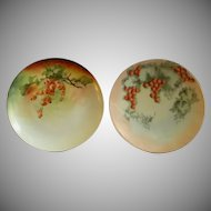 Pr. of Home Studio Hand Painted Cabinet Plates w/Currant Motif