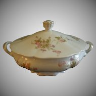 PH Leonard, Vienna, Austria, Porcelain Round Covered Vegetable Bowl w/Pink & White Rose Motif