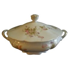 PH Leonard, Vienna, Austria, Porcelain Round Covered Vegetable Bowl w/Pink & White Rose Motif