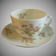 PH Leonard, Vienna, Austria, Porcelain Set of 3 Cups & Saucers w/Pink & White Rose Motif