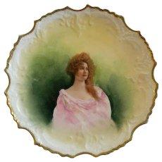 Lazeyras, Rosenfeld & Lehman (L R L) Limoges Portrait Plate of Beautiful Lady