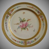 Julius H Brauer Studio H.P. & Gold Encrusted Cabinet/Underplate w/Dresden Flower Motif