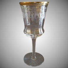 Set of 4 Tiffin Glass Co., Needle Etch, Stem #15028-1, Water Goblets w/Gold Encrusted Edge