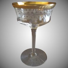 Set of 4 Tiffin Glass Co., Needle Etch, Stem #15028-1, Champagne/Tall Sherbets w/Gold Encrusted Edge
