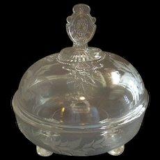 EAPG - Riverside Glass Works 'Grasshopper' Pattern Covered Butter Dish