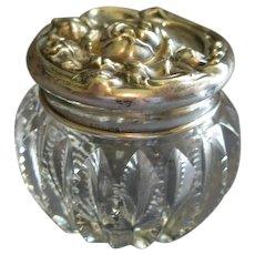 Brilliant Cut Glass Vanity/Dresser Jar w/Sterling Silver Floral Repousse Cover