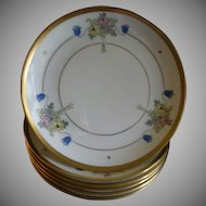"Pickard Studio Hand Painted ""Russian Flowers"" Series, Set of 6 Dessert Plates"