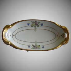 "Pickard Studio Hand Painted ""Russian Flowers"" Series, Relish/Pickle Dish"