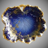 Charles Haviland & Co., Limoges Cobalt & Gold Floral Factory Decorated Large Relish Dish