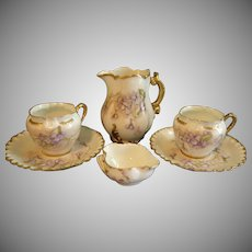 Charles Haviland & Co., Limoges Hand Painted Violets Motif, Group of 6 Items