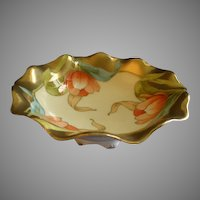 P T Bavaria Footed Serving Bowl w/Transfer Tulip Blossoms Motif