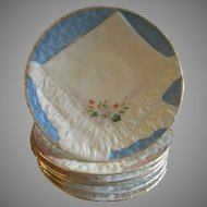 Set of 6 Porcelain Luncheon Plates w/Embossed Basketweave & Napkin Design