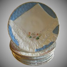 Set of 6 Porcelain Luncheon Plates w/Embossed Basketweave & Napkin Design