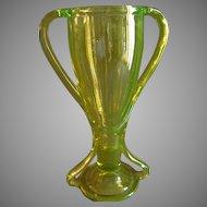 "Fostoria Glass Company Vaseline (Uranium) ""Tut"" or ""Loving Cup"" Pattern Vase"