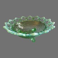 """Northwood Glass Green Opalescent """"Shell and Wild Rose"""" Footed Bowl"""