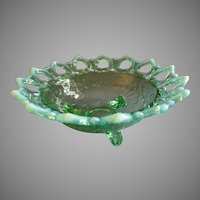 "Northwood Glass Green Opalescent ""Shell and Wild Rose"" Footed Bowl"