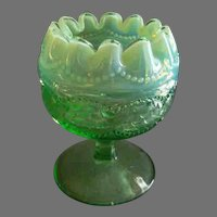 """Northwood Glass Green Opalescent """"Pearls and Scales"""" Rose Bowl"""