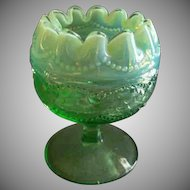 "Northwood Glass Green Opalescent ""Pearls and Scales"" Rose Bowl"