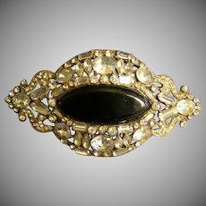Eisenberg Original Diamond Rhinestone & Faux Onyx Oval Brooch