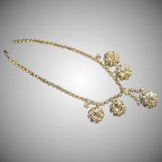 Vintage Silver-Tone & Diamond Rhinestone Necklace