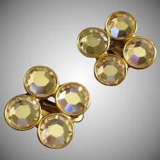 Ben Amun Gold-Tone & Diamond Rhinestone Clip-Style Earrings