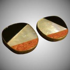 """Celia Sebiri"" Vintage Inlaid Mother-of-Pearl, Onyx & Crushed Coral Clip Earrings"