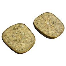 """Celia Sebiri"" Vintage Inlaid Crushed Agate Quartz Clip Earrings"