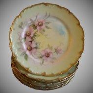 Set of 6 T&V Limoges Hand Painted Salad/Dessert Plates w/Pink Wild Roses Motif