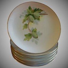 Set of 6 Austria China Hand Painted B&B/Dessert Plates w/Gooseberry Motif