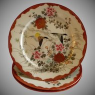 Set of 3 Meiji Period Hand Painted Kutani Porcelain Plates w/Swallows & Floral Motif