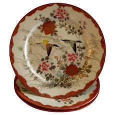 Set of 3 Meiji Period Hand Painted Kutani Porcelain Plates w/Swallows & Floral Motif
